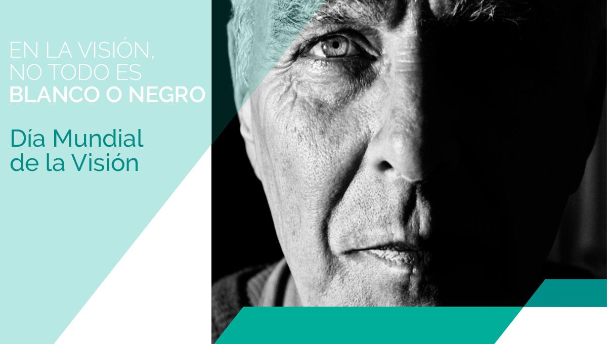 Banner Día Mundial de la Visión, hombre mayor en blanco y negro