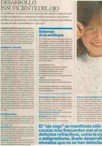 Artículo La Vanguardia ambliopía